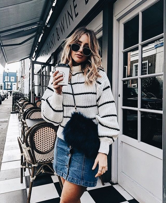 Dot stripes denim jeans summer style fashion spring hair sunglasses glasses specs sunnies coffee shops style street