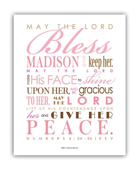 Baptism Gift for girls / First Communion Gift - Print & Frame Your Own Personalized Scripture 8x10 - Pick Colors - Numbers 6 Blessing