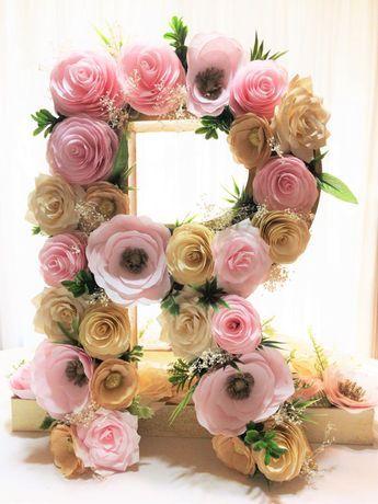 Nous nous dirigeons tous nos lettre floral à notre magasin principal Centertwine. S'il vous plaît, utilisez ce lien pour commander. www.Etsy.com/Listing/477440355 16 grande lettre est fait de papier mâché et rempli de fard à joues, pivoines en papier Ivoire et or, camélias, Roses, anémones et accent de minuscules fleurs, feuilles de soie et séchées gypsophile. Les côtés sont peints en ivoire. Lettres peuvent être faits dans des couleurs de votre choix. Verdure et souffle du bébé pe...