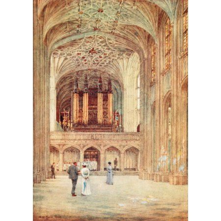 Windsor 1908 Nave of St Georges Chapel Canvas Art - George Henton (18 x 24)