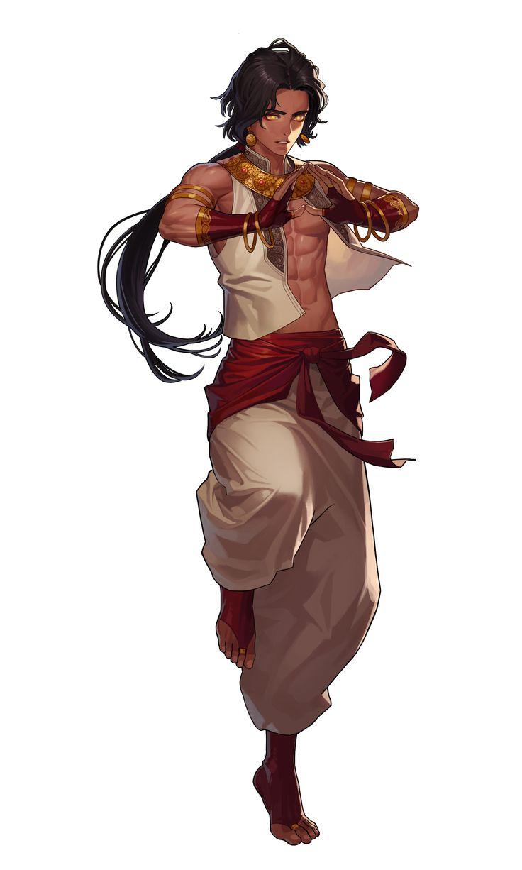 Black Survival, Zahir Black hair, boy, male, red, white, gold, monk, martial artest. Gold eyes.