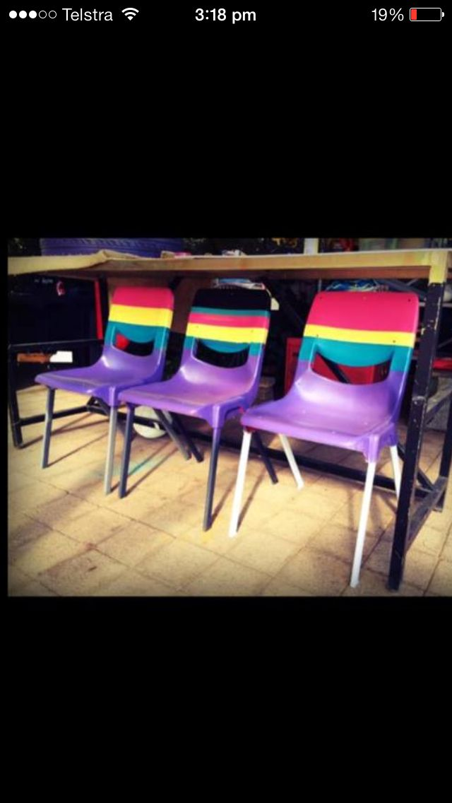 Upcycled plastic chairs for Chelsea's Fairy Party