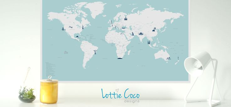 #worldmap #designermap #landmarkmap #lottiecoco #childrensinteriors