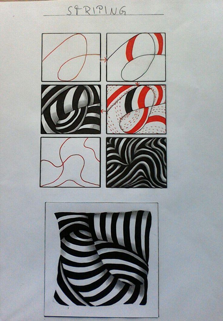 Zentangle pattern striping by Lena