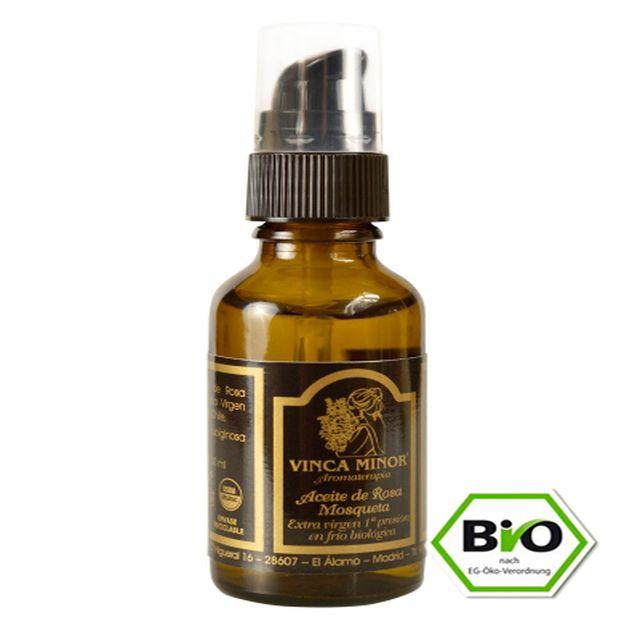 Aceite De Rosa Mosqueta 30ml. Vinca Minor. Aceite 100% puro extra virgen extraído de la primera presión en frío biológico originaria de Chile. Su uso está recomendado en manchas oscuras de la piel, cicatrices y estrías.