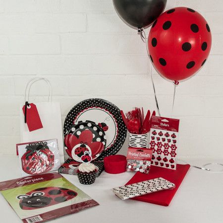 Lady bug party package. Ist birthday or baby shower perhaps? Great value delivered to your door. http://www.qualitytimepartysupplies.com.au/shop/lady-bug/lady-bug-party-package/