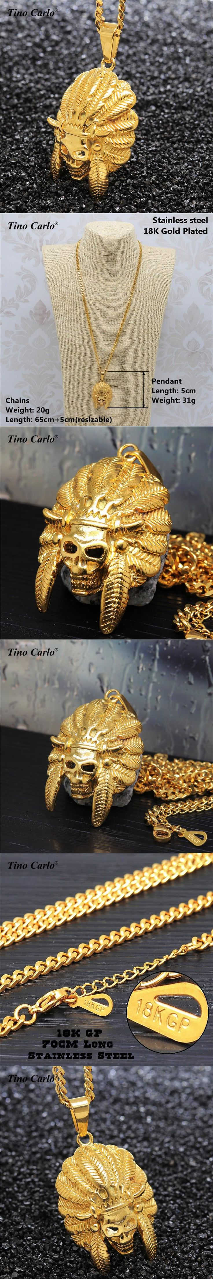 Tribal Chief Statement Necklace Satan Indian Chief Skull Hip hop Jewelry Titanium Steel Golden Men's Unique Necklace 70CM JF1258