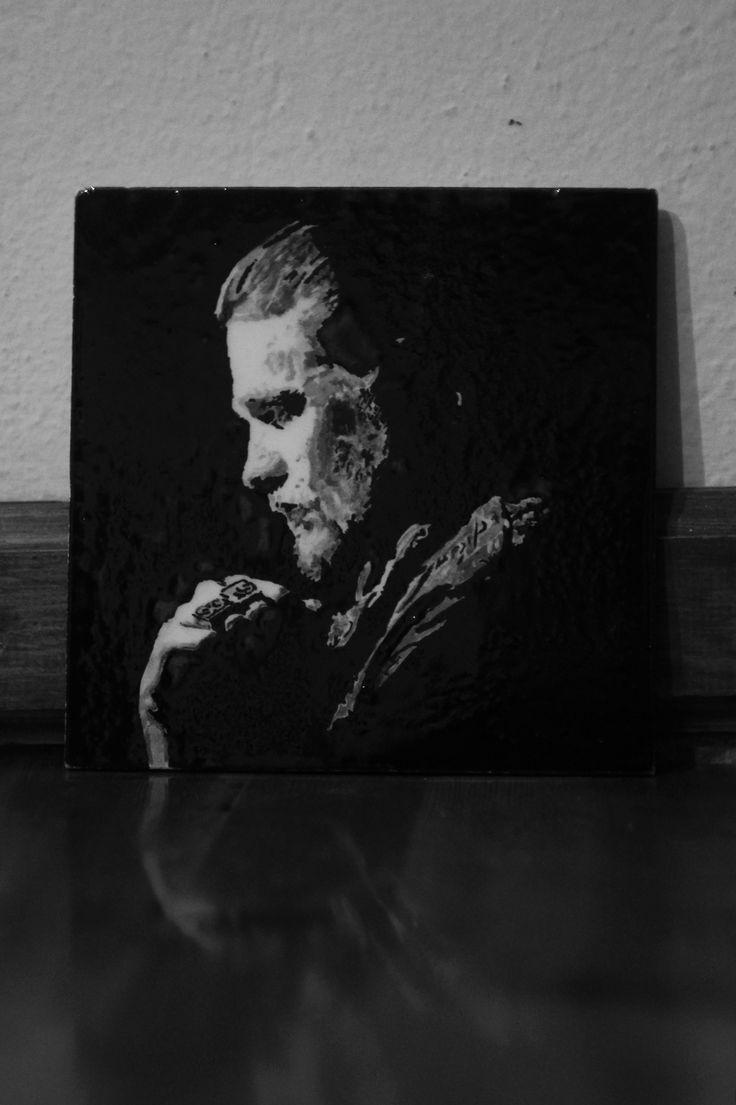 20x20 karo üzerine çini çalışması sons of anarchy jax teller(ceramic art)