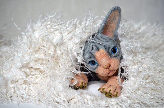 Needle felted kitten Sphynx. BJD from wool. Animal portrait. Collectible toy. OOAK doll. Feline lovers gift