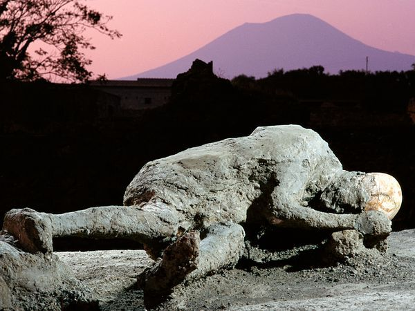Pompeii and Herculaneum were two ancient Italian cities that were not slowly buried beneath the sands of time. They were instead entombed beneath tons of rock and ash blasted out of nearby Mount Vesuvius in A.D. 79. Many inhabitants fled toward the Mediterranean seafront. Dr. Sara Bisel  found human beings frozen in positions of terror, though turned to ash, and skeletons still garbed in jewelry and wrapped protectively around the bones of their children