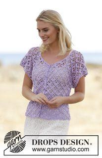 """Crochet DROPS jacket with fan pattern, worked top down in """"Safran"""". Size S-XXXL. ~ DROPS Design"""