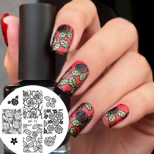 Born Pretty Nail Art Stamp Template Image Plate Rose Flower Pattern Nail Art Stamp Stamping Template BP-73