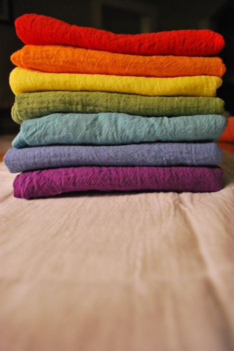 dyed floursack towels - i love these colors, maybe too bright to have in my house?? but i love to look at them