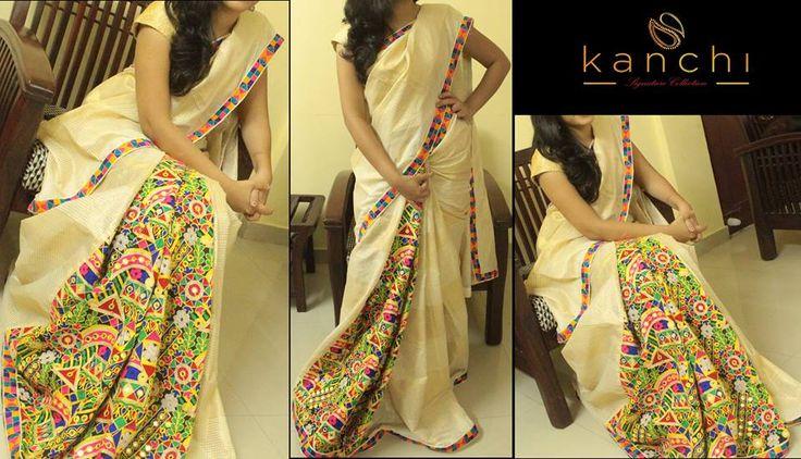 Half and half onam saree with kutch work pleats.. Kanchi signature collection saree .. https://www.facebook.com/Kanchi-Signature-Collection-353807514697160/timeline/