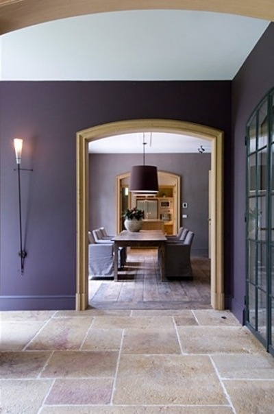 love the flat purple walls.  maybe crazy, but what about for a dining room?!