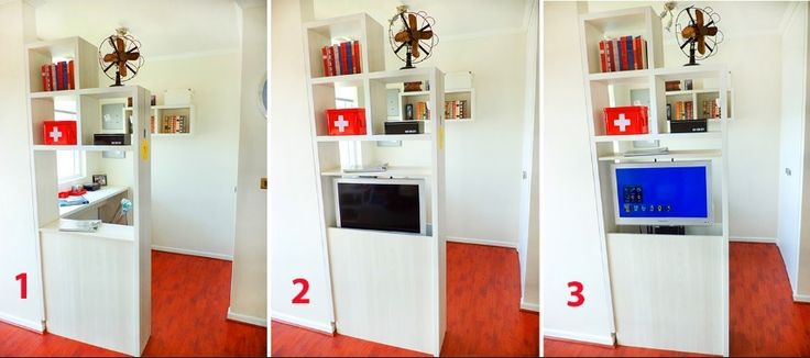 mueble separador ambientes con lift de TV