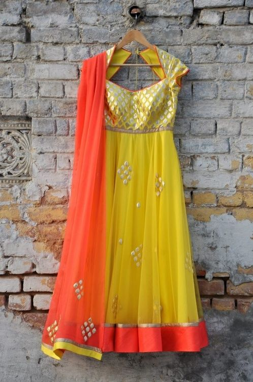 yellow gold and peachy orange #anarkali #traditional #indian