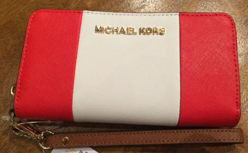 NWT-GENUINE-Michael-Kors-saffiano-mandarin-red-white-wallet-wristlet-iPhone-6