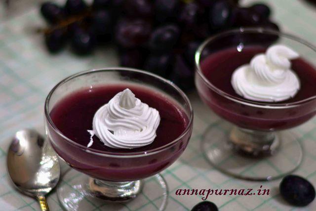 Grape Pudding  Lets enjoy this #Swedish  treat #grapepudding #kram #blackgrapes #grapejuice #freshjuice #fruitlovers #dessert #whippedcream #foodie #anapurnaz #sweettooth #sweet_tart  Recipe at: www.annapurnaz.in