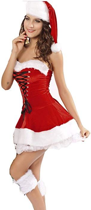 4bdbde4bab6b1 Amazon.com: Jug&Po Womens 3 Piece Red Velvet Christmas Corset Set X-Large:  Clothing