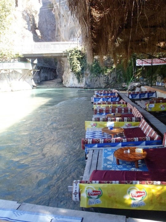 Tables along the river as it exits Saklikent gorge in Turkey