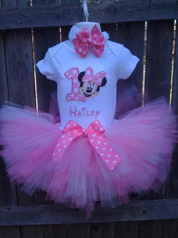 Candy Pink  and White Minnie Mouse 1ST Birthday by confettydesigns, $45.00