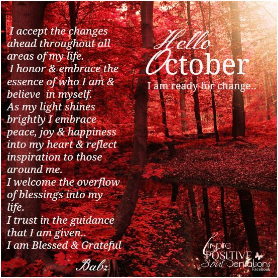Welcome To October And The Changes It Brings! Blessings, Cherokee Billie