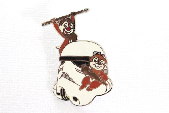 This very hard to find Star Wars Disney pin for sale features Chip n Dale dressed as Ewok standing on a Stormtrooper helmet, retired. Guaranteed Authentic and Scrapper-Free. Earn reward points on ever