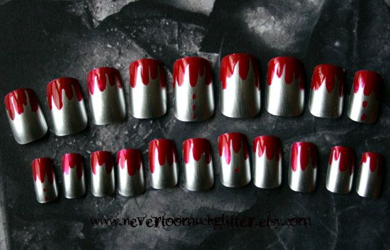 Gothic Nail Art Texas Chainsaw Manicure by Nevertoomuchglitter, $9.50