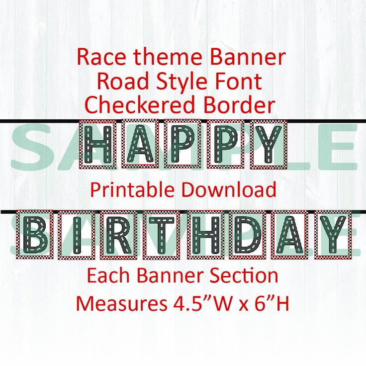 Race theme 'HAPPY BIRTHDAY' banner. Birthday party, Printable download,Road style font,Checkered flag by MoonGloCreations on Etsy