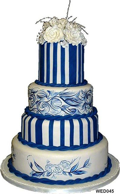 WED045 Delft inspired wedding cake 73 by 3 Brothers Bakery, via Flickr