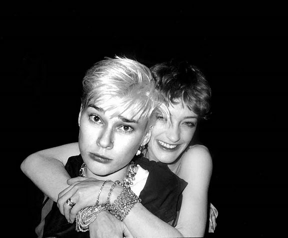 Loulou de la Falaise with Edwige Belmore at Le Palace.  Photo by Philippe Morillion.