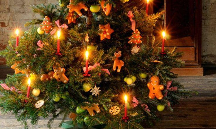 Weihnachtsbaum mit Plätzchen bestückt