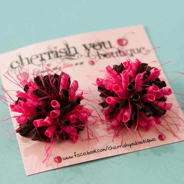 Country Girl Mini Korker Hair Bows -  Baby Girl Hair Bows - Toddler Hair Bows - Hot Pink and Brown Hair Bow. $6.00, via Etsy.