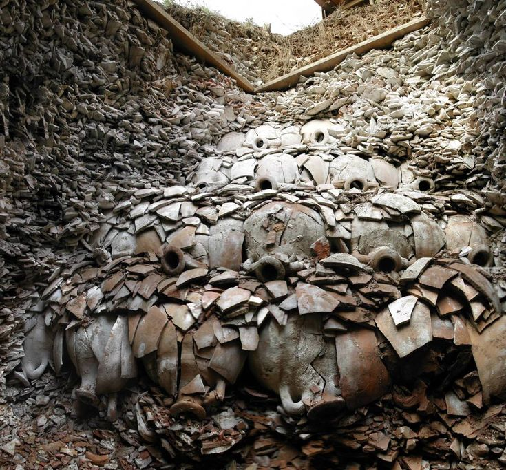There is a hill in Rome made entirely of 53 million olive oil amphorae. In fact it's the biggest ancient roman rubbish...