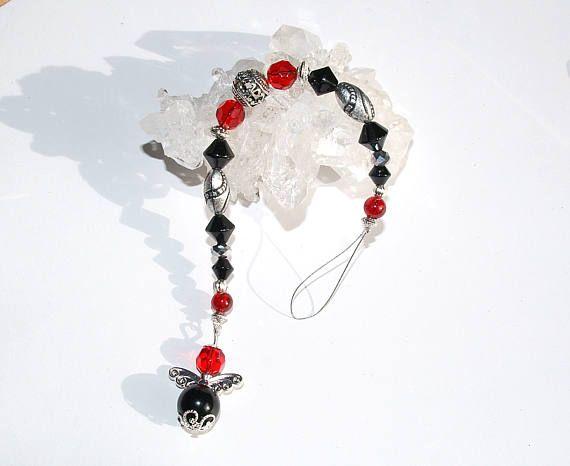 giardian angel red black Rückspiegel Auto Spiegel Anhänger Glas Kristall Engel Charm schwarz rot silber