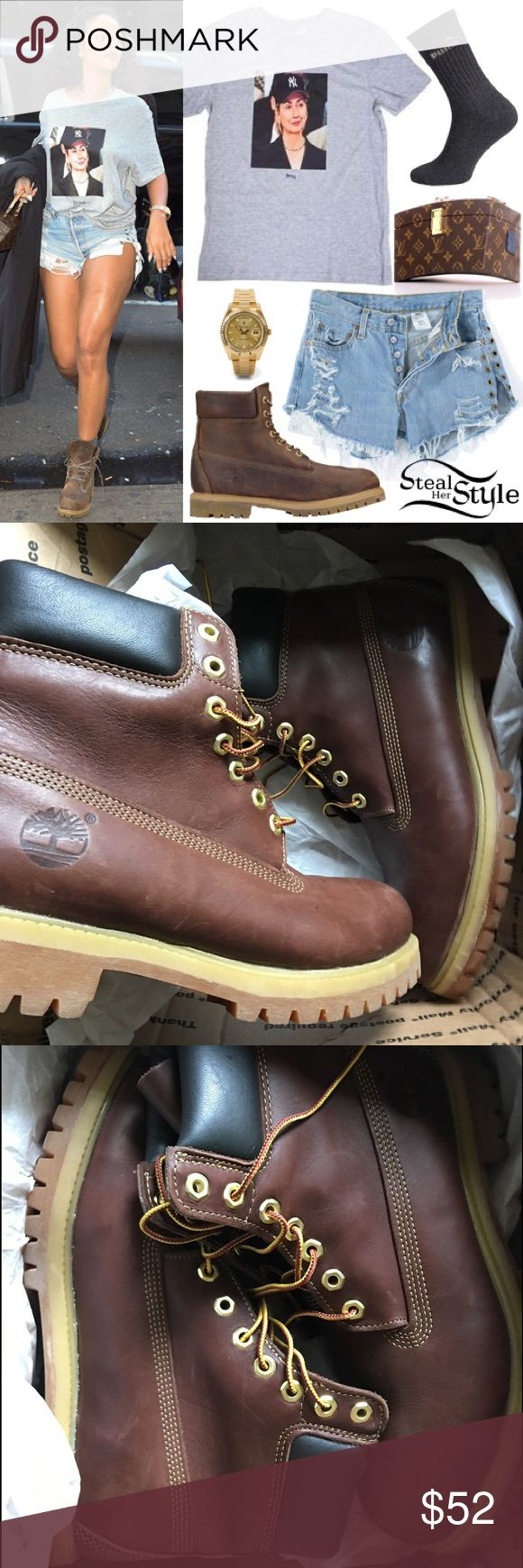 Brown 6in Timberland boots size 10 women's Just got from another Posher & I like the low cut timbs better. Excellent shape. Looks barely used. Price firm. I ship between Tues & Thursday, on my days off of work. Timberland Shoes