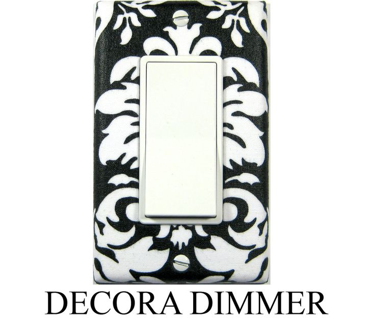 Black and White Damask in the Decora style. Dimmer / Rocker Switch Plate.