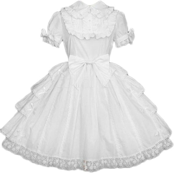 Partiss Women's White Bows Cotton Lolita One-Piece Dress ($86) ❤ liked on Polyvore featuring dresses, white cotton dress, bow dress, white color dress, cotton dresses and white dress