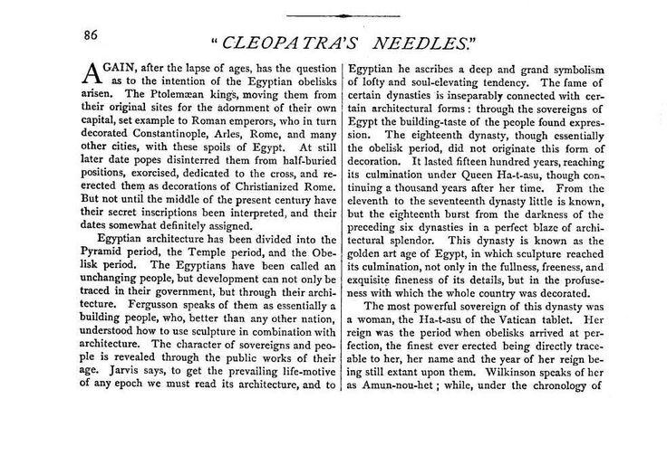 Cleopatra's Needles - egipto.com