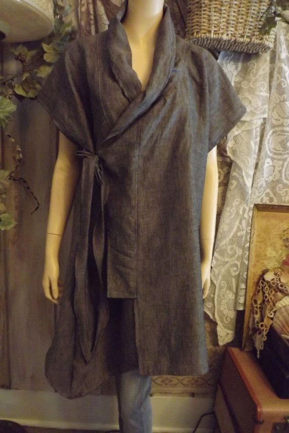 Lagenlook Linen Kimono Wrap Tunic Shawl Collar Ties Custom Colors One Size Fits Many