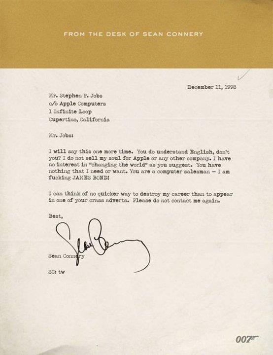 Respuesta de Sean Connery a una petición de Steve Jobs para que este apareciese en un anuncio de Apple.   #stevejobs #apple #seanconnery #jamesbond #007