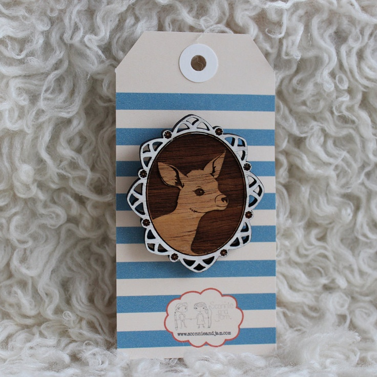 Items similar to laser cut wood brooch adorable little deer fawn bambi cameo handpainted white border on etsy