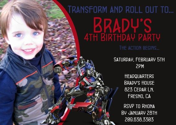 Set the tone of your party with this Transformer invitation!!!    **My digital invitations are customizable to fit your needs and are