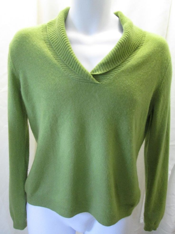 womens prive 100  cashmere sweater large solid llime green cowl neck  prive  cowlneck