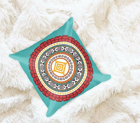 Aztec Inspired Mandala Throw Pillow   Pillow Cases   Boho Accent Pillows   Teal & Red   Chic Apartment Decor   Decorative Pillow   Pattern