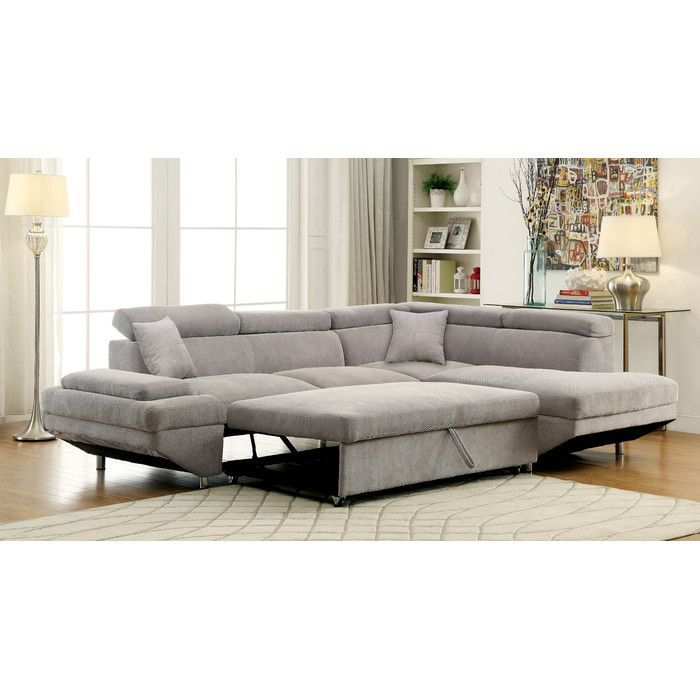 Anchor Your Living Room Or Parlor Ensemble With This Clean Lined Sectional Sofa Featuring Chrome Sectional Sleeper Sofa Furniture Of America Sleeper Sectional