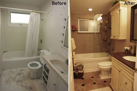 Before and after bathroom remodels small bathrooms for Bath remodel before and after pictures