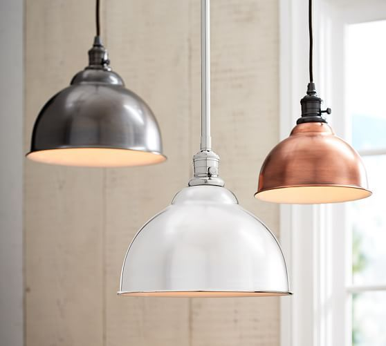 small (9.5 diameter and 5.75 high) or large (13 diameter and 8 high) x 2 over island | PB Classic Pendant - Metal Bell in Satin Nickel