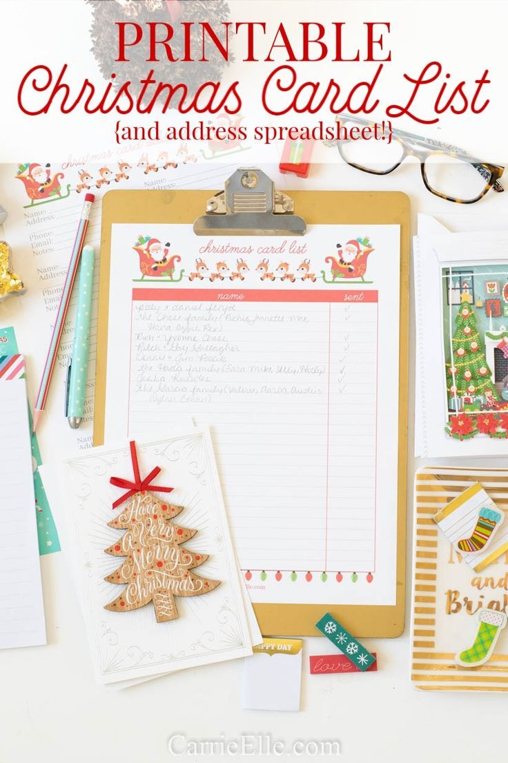 Printable Christmas Card List And Excel Christmas Card Spreadsheet So You Can Printable Christmas Cards Christmas Card Template Christmas Card Templates Free